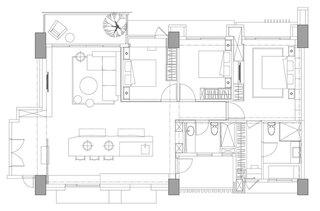 现代简约风格三室两厅装潢
