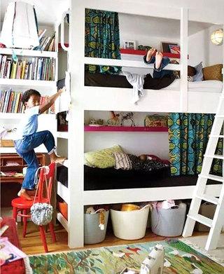 双人儿童房高低床设计效果图