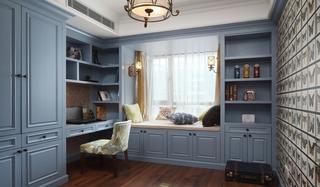 蓝色美式书房带飘窗效果图