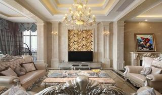 欧式风格三居室装修客厅效果图装修