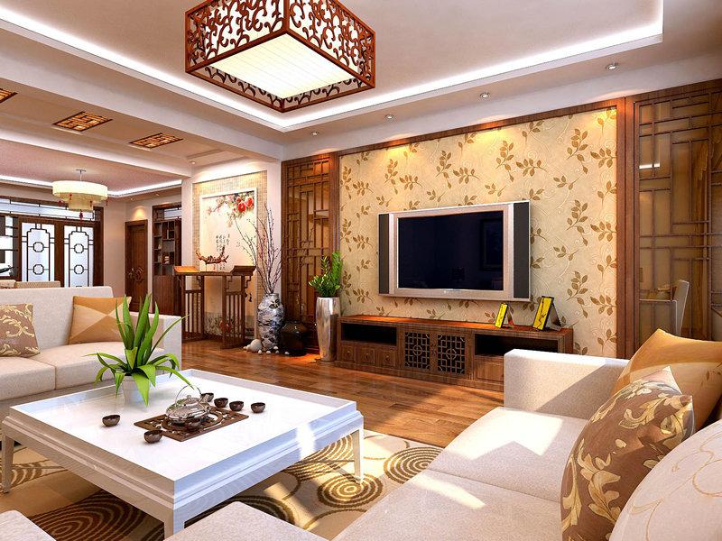 120平米中式三居室装修效果图,中式风装修案例效果图图片