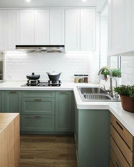 简欧风厨房 薄荷绿橱柜设计