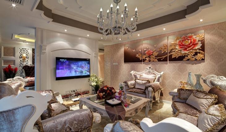 欧式风格三居室装修客厅背景墙装修