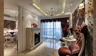 欧式风格三居室装修客厅吊顶装修图