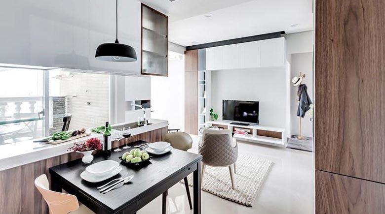 50㎡现代一居室公寓餐厅图