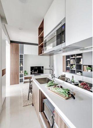 50㎡现代一居室公寓厨房平面图