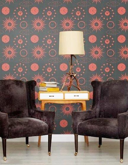 客厅复古墙纸装修装饰效果图