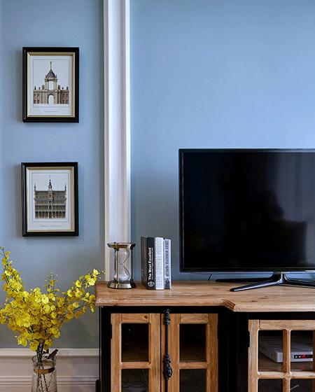 100平混搭美式公寓客厅电视柜图片