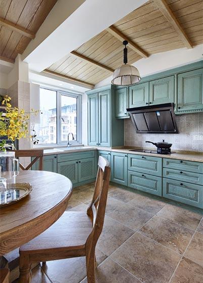 乡村美式开放式厨房 薄荷绿橱柜效果图