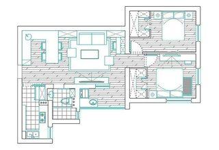 93㎡北欧风两居室设计平面图
