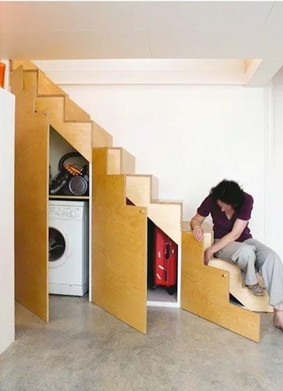 楼梯空间改造收纳效果图