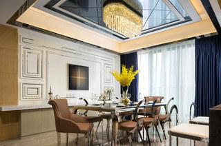 奢华简欧风样板房餐厅吊顶设计