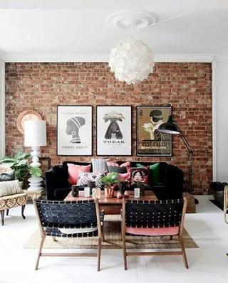 工业风格客厅沙发背景墙效果图