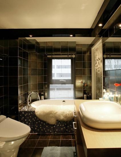 时尚小户型装修  帅哥的质感小公寓设计卫生间效果图