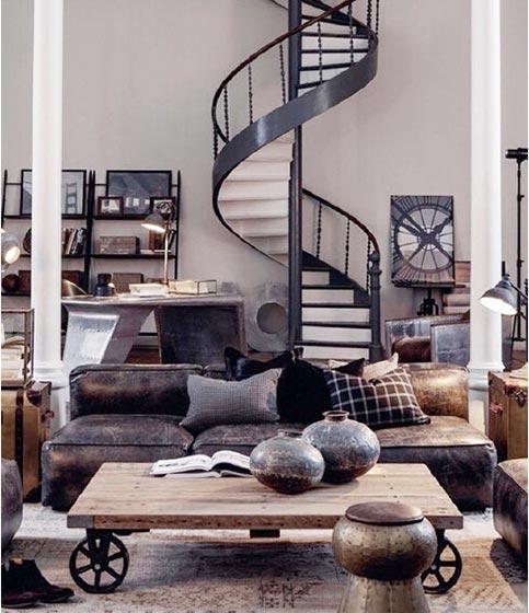 工业风混搭 loft公寓旋转楼梯效果图