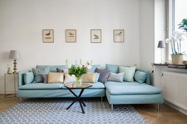 清爽简洁北欧风 客厅沙发效果图