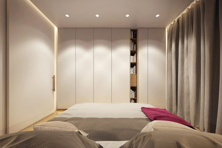 舒适裸色调简约风 卧室衣柜效果图