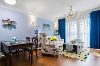 清新蓝色美式 客餐厅装饰效果图