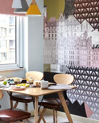 北欧风格餐厅 城市手绘墙设计