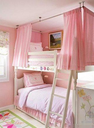 公主儿童房高低床效果图