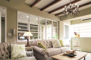 86平美式风格二居客厅效果图