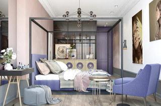 混搭风格公寓主卧室效果图设计