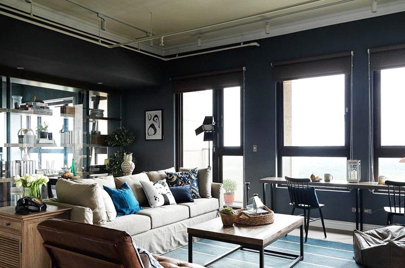 北欧风客厅 黑色系背景墙设计