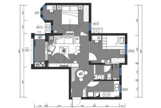90平简约两居室平面设计图