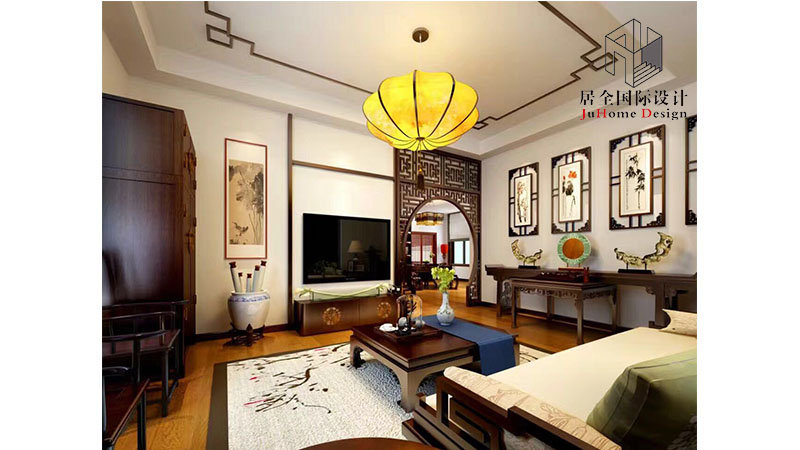 130平米中式复式装修效果图,中式风雅韵装修案例效果图片