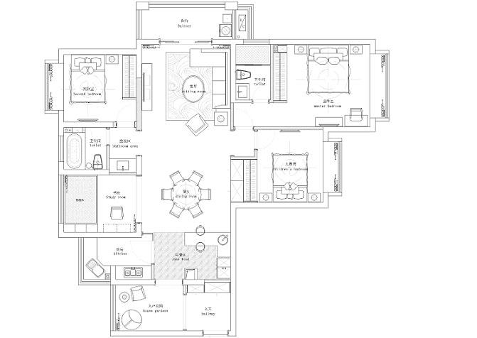 136平简约风格公寓平面布置图