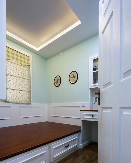 淡绿色美式公寓 榻榻米休闲室设计