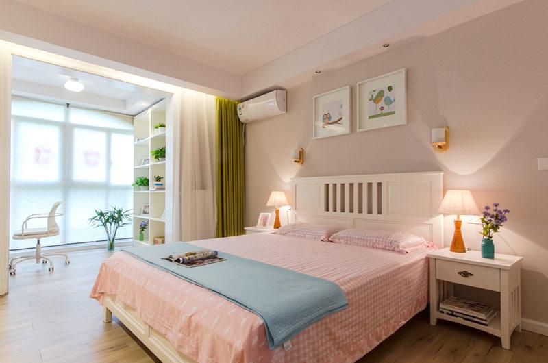 粉色系北欧卧室室内隔断设计