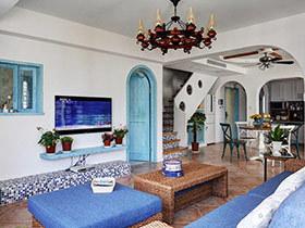 220平地中海风格复式楼装修 蓝白相映
