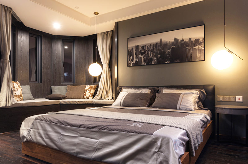 摩登深色系打造后现代卧室效果图
