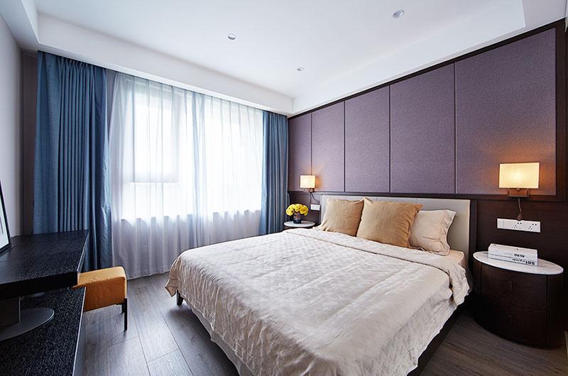 简中式主卧室 咖色系背景墙设计