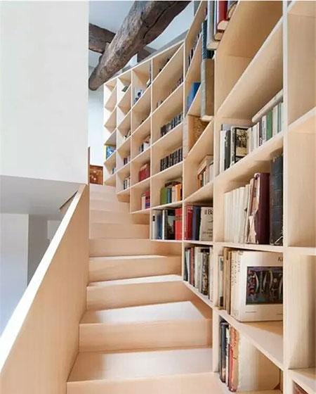 loft装修楼梯书架图