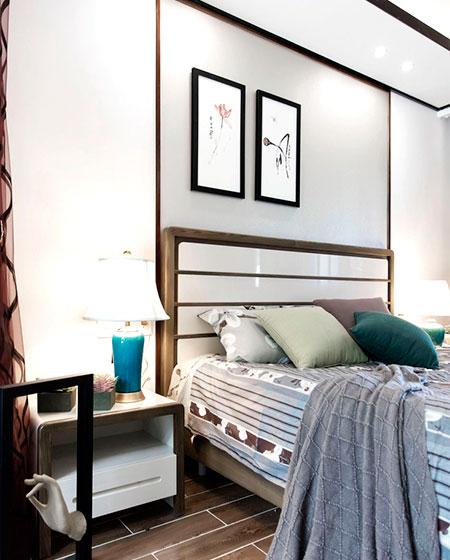 350平中式风格别墅卧室木床设计图