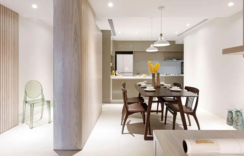 110平日式公寓餐厅背景墙装修