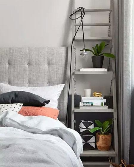 卧室梯形床头收纳架