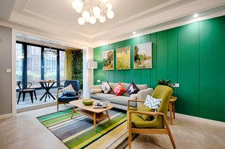 北欧风格客厅  镉蛋绿色背景墙设计