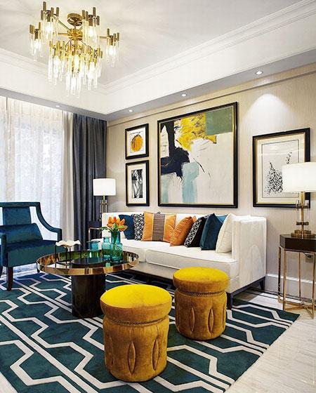 87平美式风格样板房装修 尽显精致典雅2/11图片