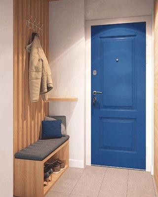 宜家日式公寓 宝蓝色入户门效果图
