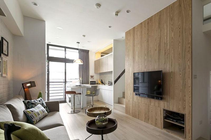 68平北欧风格公寓木质电视背景墙图片