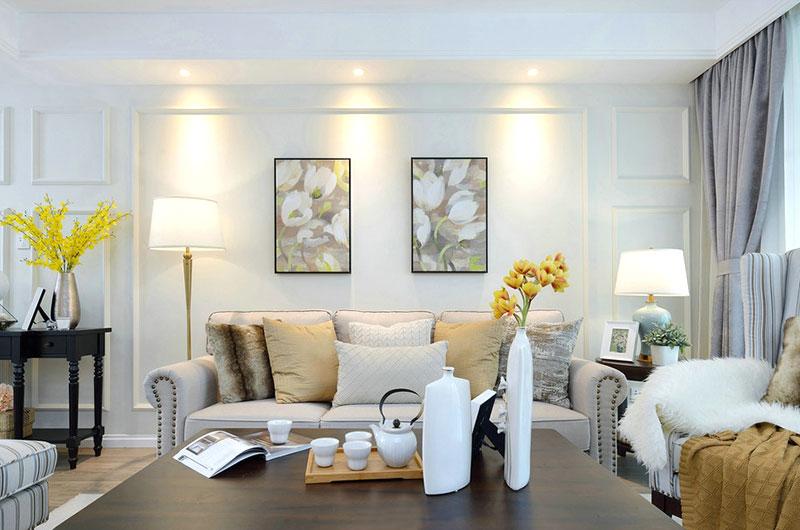 130平美式风格客厅效果图设计