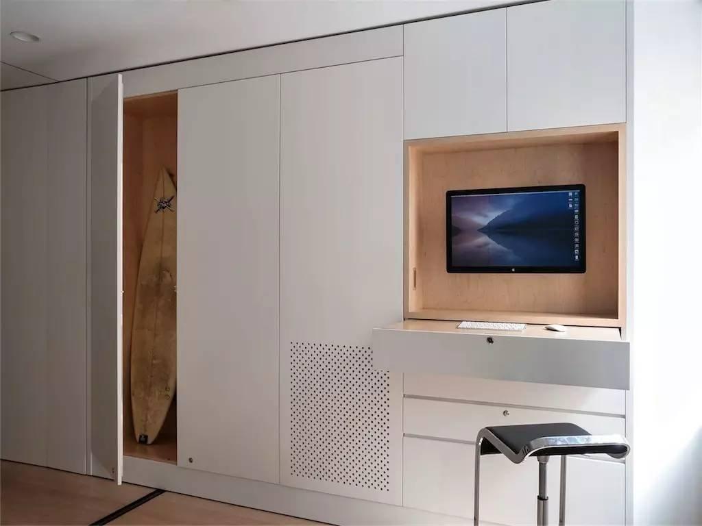 隐藏式办公空间在可移动的墙面中,除此之外这面墙还隐藏着衣柜,收纳图片