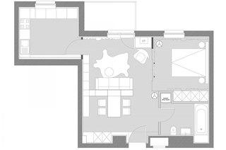 一室一厅小户型平面布置图