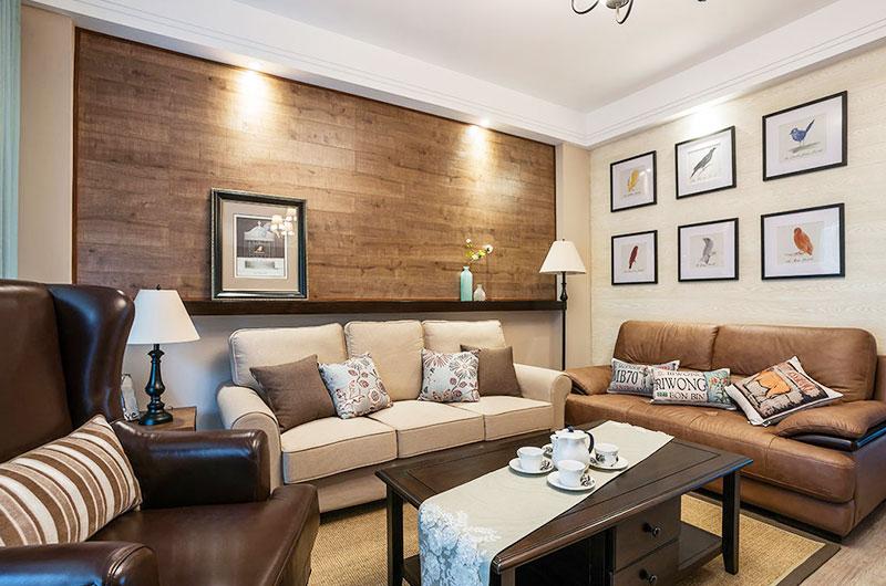 110平混搭三室两厅客厅装修设计