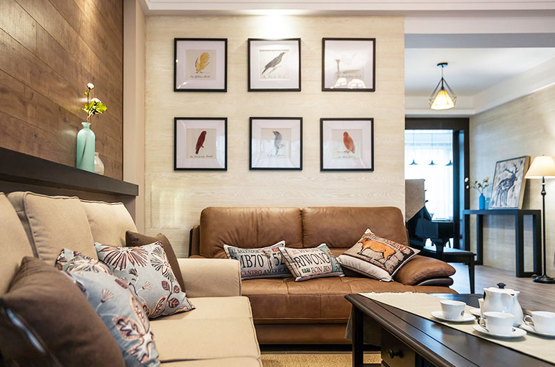 110平混搭三室两厅沙发背景墙装修