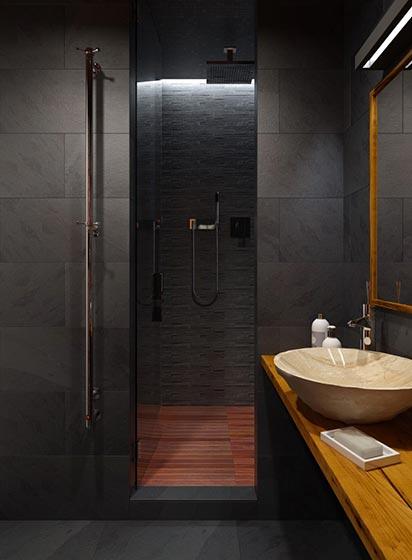 黑色后现代卫生间效果图