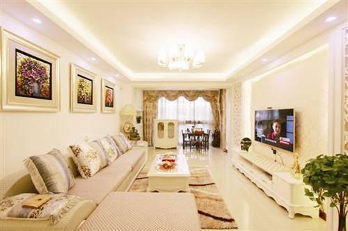 地砖拼花,整体效果仿佛将空间划分为无数个小块,使客厅空间的层次感和图片